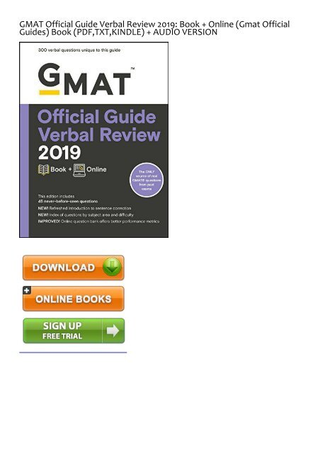 Download [pdf] the official guide for gmat verbal review by graduate ….