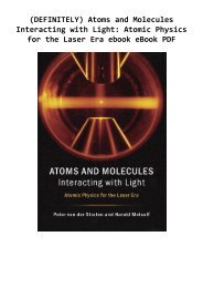 (DEFINITELY) Atoms and Molecules Interacting with Light: Atomic Physics for the Laser Era ebook eBook PDF
