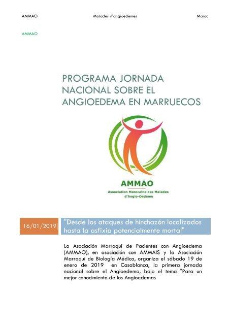 Programa Primera Jornada Nacional sobre el Angiodema - AMMAO News GF