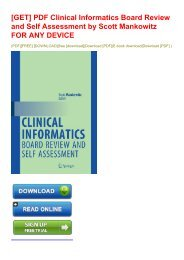 [GET] PDF Clinical Informatics Board Review and Self Assessment by Scott Mankowitz FOR ANY DEVICE