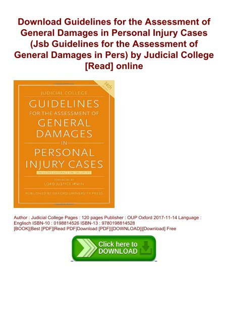 Judicial College Guidelines >> Download Guidelines For The Assessment Of General Damages In