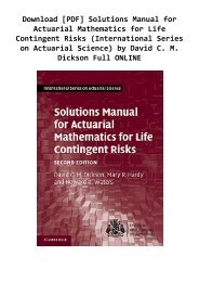 Download [PDF] Solutions Manual for Actuarial Mathematics for Life Contingent Risks (International Series on Actuarial Science) by David C. M. Dickson Full ONLINE