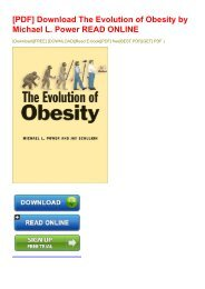 -PDF-Download-The-Evolution-of-Obesity-by-Michael-L-Power-READ-ONLINE