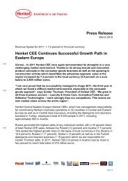 Press Release Henkel CEE Continues Successful Growth Path in ...