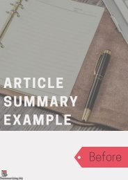 ARTICLE SUMMARY EXAMPLE: Before