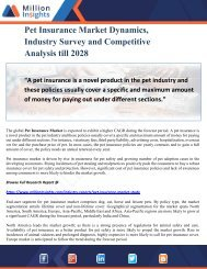 Pet Insurance Market Dynamics, Industry Survey and Competitive Analysis till 2028