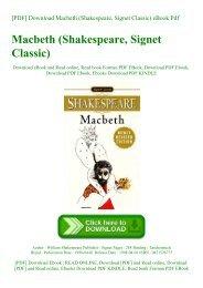 [PDF] Download Macbeth (Shakespeare  Signet Classic) eBook Pdf