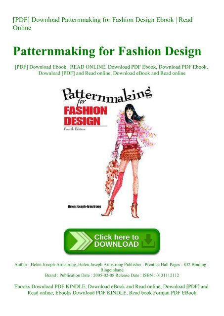 Pdf Download Patternmaking For Fashion Design Ebook Read Online