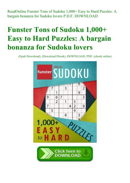 ReadOnline Funster Tons of Sudoku 1 000+ Easy to Hard
