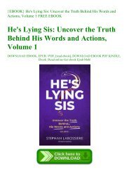 {EBOOK} He's Lying Sis Uncover the Truth Behind His Words and Actions  Volume 1 FREE EBOOK