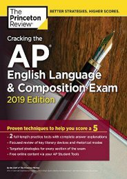 (SECRET PLOT) Cracking the AP English Language   Composition Exam, 2019 Edition: Practice Tests   Proven Techniques to Help You Score a 5 (College Test Preparation) eBook PDF Download