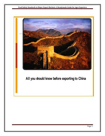 All you should know before exporting to China - Ministry of ...