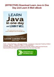 (EFFECTIVE) Download Learn Java in One Day and Learn It Well eBook