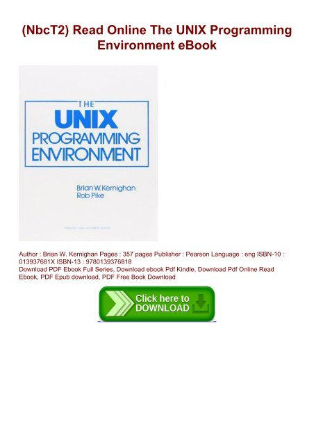 NbcT2) Read Online The UNIX Programming Environment eBook