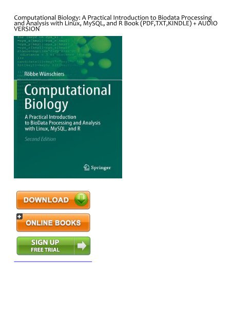 ADEQUATE) [PDF] Download Computational Biology: A Practical