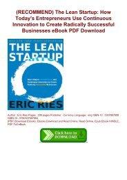 The Lean Startup Eric Ries Epub