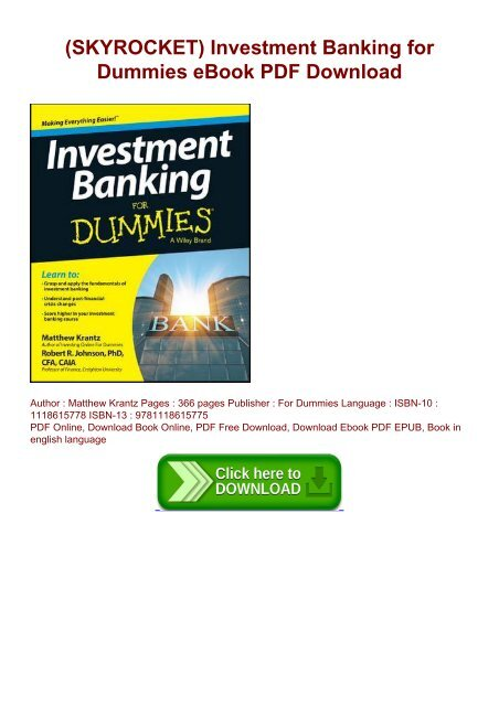 Investment banking for dummies pdf uganda investment authority offices for lease