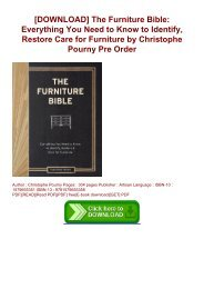 [DOWNLOAD] The Furniture Bible: Everything You Need to Know to Identify, Restore  Care for Furniture by Christophe Pourny Pre Order