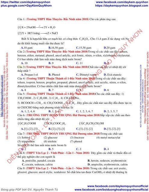 231 câu lý thuyết đại cương hóa hữu cơ có trong kì thi THPT Quốc Gia 2019