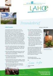 Freundesbrief - Bibelkonferenzstätte Langensteinbacher  Höhe