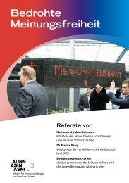 AUNS Sonder-Broschüre: Bedrohte Meinungsfreiheit
