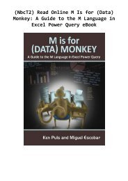 (NbcT2) Read Online M Is for (Data) Monkey: A Guide to the M Language in Excel