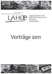 Vortragsreihen - Bibelkonferenzstätte Langensteinbacher  Höhe