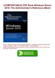 (COMFORTABLE) PDF Book Windows Server 2016: The Administrator's Reference eBook