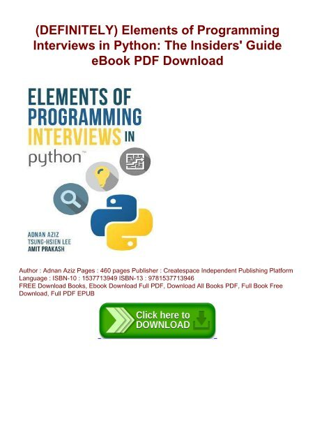 DEFINITELY) Elements of Programming Interviews in Python: The