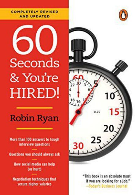Read E-book 60 Seconds and You re Hired!: Revised Edition by Robin Ryan [PDF EPUB KINDLE]