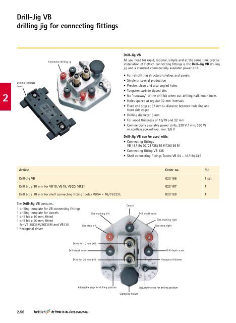 Drill-Jig VB drilling jig for connecting fittings - Hettich