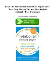 Read The Metabolism Reset Diet Repair Your Liver  Stop Storing Fat  and Lose Weight Naturally Free Download