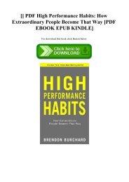 [DOWNLOADPDF] PDF High Performance Habits How Extraordinary People Become That Way [PDF EBOOK EPUB KINDLE]