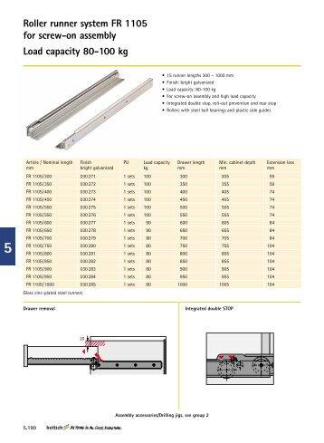 Roller runner system FR 1105 for  screw-on assembly Load ... - Hettich