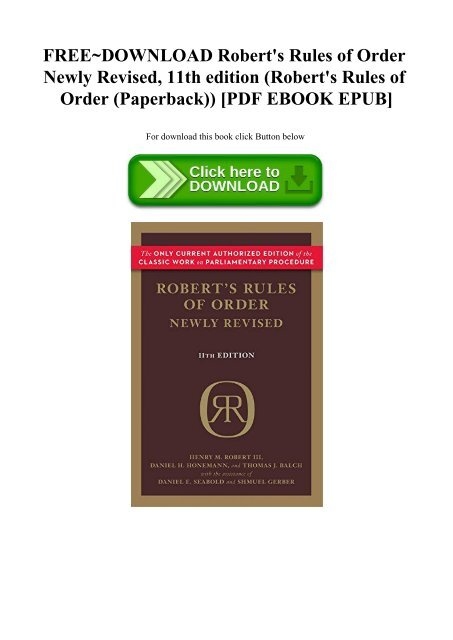 11th edition Roberts Rules of Order Newly Revised