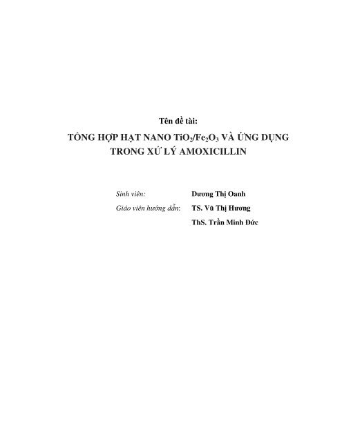Tổng hợp hạt nano TiO2/Fe2O3 và ứng dụng trong xử lý amoxicillin