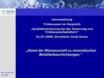 Beschichtungen von Trinkwasserbehältern  - Hessenwasser