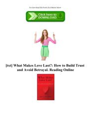 [txt] What Makes Love Last How to Build Trust and Avoid Betrayal. Reading Online
