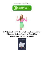 PDF [Download] College Match A Blueprint for Choosing the Best School for You 25th Anniversary Edition Free Online