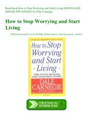Read book How to Stop Worrying and Start Living DOWNLOAD EBOOK PDF KINDLE by Dale Carnegie