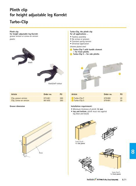 Fixing block for height adjustable leg Korrekt - Hettich