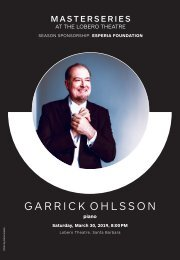 Saturday, March 30, 2019—Garrick Ohlsson plays Brahms—CAMA's Masterseries at The Lobero Theatre, Santa Barbara