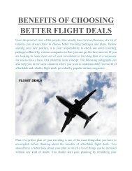 BENEFITS OF CHOOSING BETTER FLIGHT DEALS