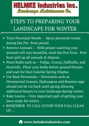 STEPS TO PREPARING YOUR LANDSCAPE FOR WINTER