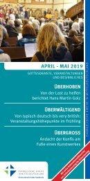 Veranstaltungsprogramm des Evangelischen Kirchenkreises Halle-Saalkreis für April und Mai 2019