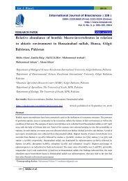 Relative abundance of benthic Macro-invertebrates in relation to abiotic environment in Hussainabad nallah, Hunza, Gilgit Baltistan, Pakistan