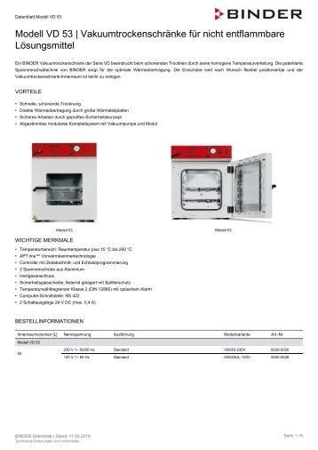 BINDER VD-Serie Vakuumtrockenschränke VD 53