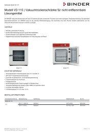 BINDER VD-Serie Vakuumtrockenschränke VD 115