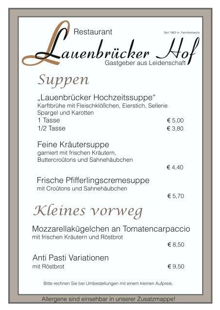 Speisekarte Lauenbrücker Hof