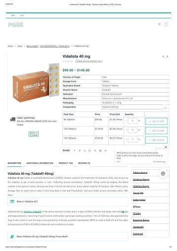 Vidalista 40 (Tadalafil 40mg)